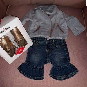 gymboree bell bottom demin jean and jacket